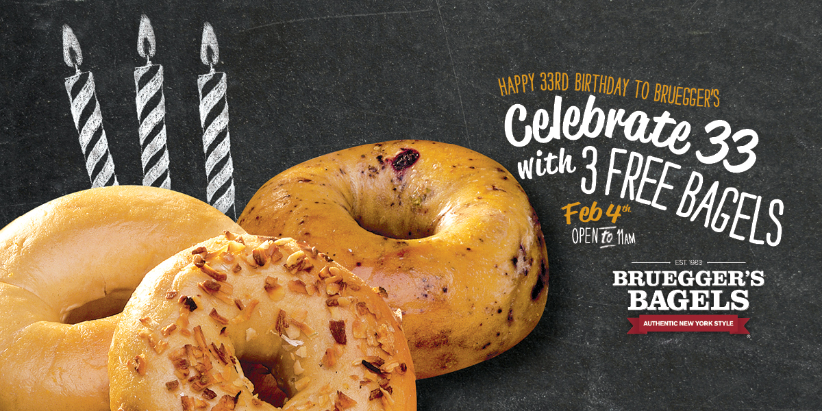 Bruegger's Bagels Celebrates 33 Years with Annual Bagel Giveaway