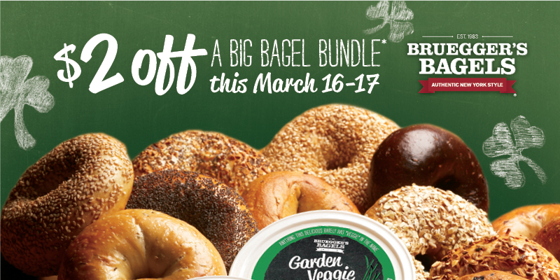 Go Green for St. Patrick's Day with Bruegger's Bagels!