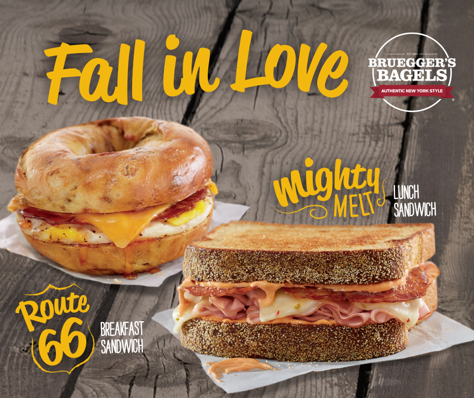 New Sandwiches - Route 66 & Mighty Melt | Bruegger's Bagels