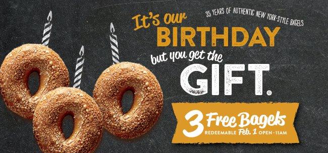 Bruegger's Bagels 35th Birthday- 3 Free Bagels