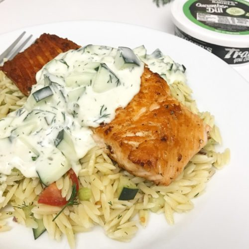 Recipe | Pan Seared Salmon with Cucumber Dill Sauce | Bruegger's Bagels