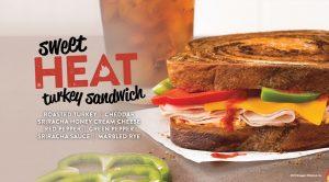 Sweet Heat Turkey Sandwich - Roasted Turkey, Cheddar, Sriracha Honey Cream Cheese, Red Pepper, Green Pepper, Sriracha Sauce, Marbled Rye