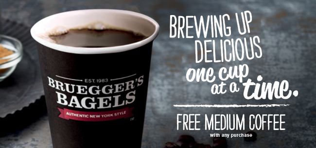 Enjoy a Free Medium Coffee with Any Purchase! - Bruegger's Bagels