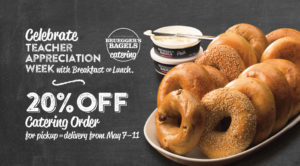 Celebrate teacher appreciation week with breakfast or lunch. 20% catering order for pickup or delivery from May 7-11