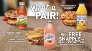 Get a FREE SNapple with any purchase of a sandwich.
