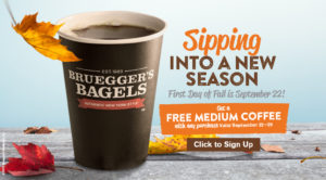 First Day of Fall Promo - Get a free medium coffee with any purchase 9/22 - 9/29