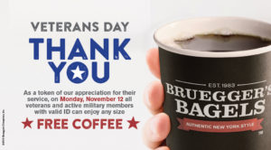 Thank you Veterans. All Veterans get a FREE ANY SIZED COFFEE Monday, November 12th, with ID.