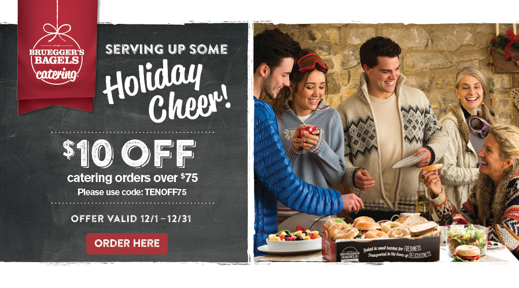 Keep up top of mind this holiday season for all your catering needs and receive $10 Off $75 minimum order with code TENNOFF75