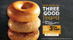 Celebrate Bruegger's 36th birthday with 3 Free Bagelson Jan. 31. Claim your offer now.