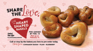 Heart-Shaped bagels are back. Call your local bakery to pre-order or visit on Feb. 14