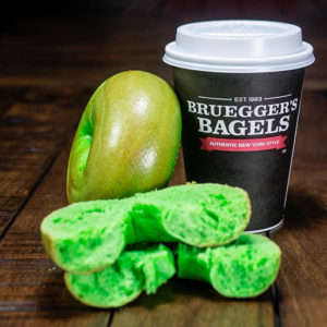 Green Bagels are back at Bruegger's. Pre-orders start March 7th and will be available in bakeries March 15-17th.