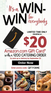 Get a $20 Amazon.com gift card for placing any $200 or more catering order for pickup or delivery by September 30th.