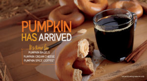 Fall's most classic flavor, Pumpkin Spice, is back with our bagel, coffee, and pumpkin cream cheese.