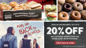 STart back to school off right with 20% off any catering purchase of $100 or more. Valid until September 15th.