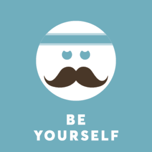 Emoji with mustache above the text: be yourself