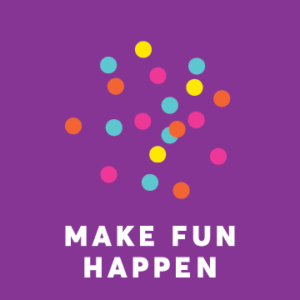 Colorful dots above the text: make fun happen