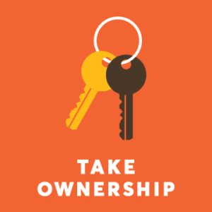 Pair of keys above the text: take ownership