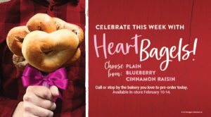 Celebrate February with heart bagels