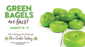 Green bagels are back in March
