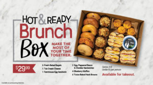 Hot and Ready Brunch Box with muffins, bagels, sandwiches, hash browns, and spread