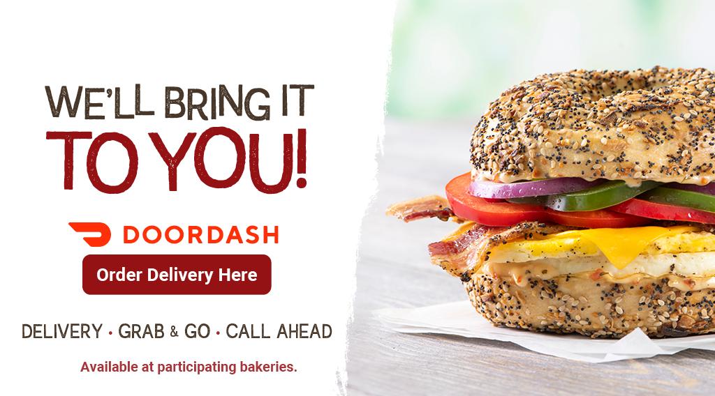 Doordash ad for Bruegger's Bagels - We'll Bring It To You!