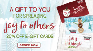 ROTATING SLIDER: CLICK to buy a gift card for 20% off!